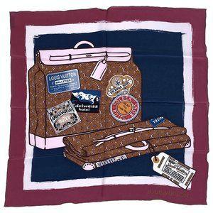 Authentic Louis Vuitton Monogram trunks silk scarf